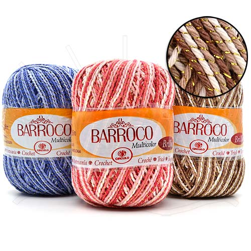 Barbante Barroco Multicolor Brilho Ouro 200g