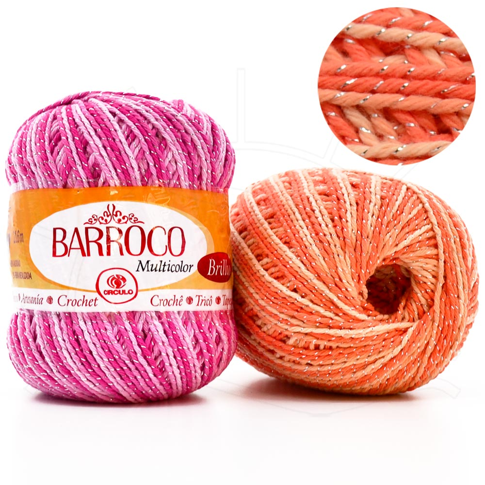 Barbante Barroco Multicolor Brilho Prata 200g