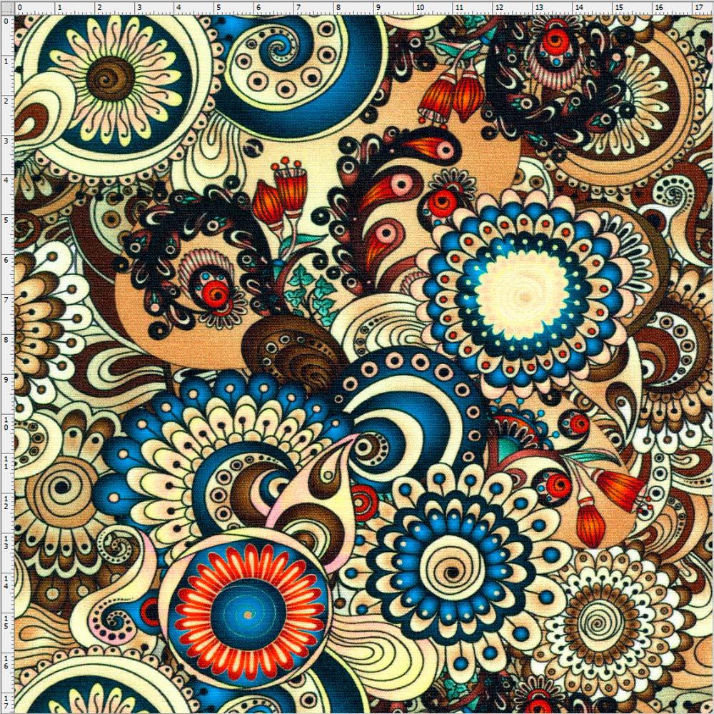 Artesanato Tecido Patchwork ~ Tecido Estampado para Patchwork Mandala Clássica Digital 25000 01 (0,50×1,40) Bazar Horiz
