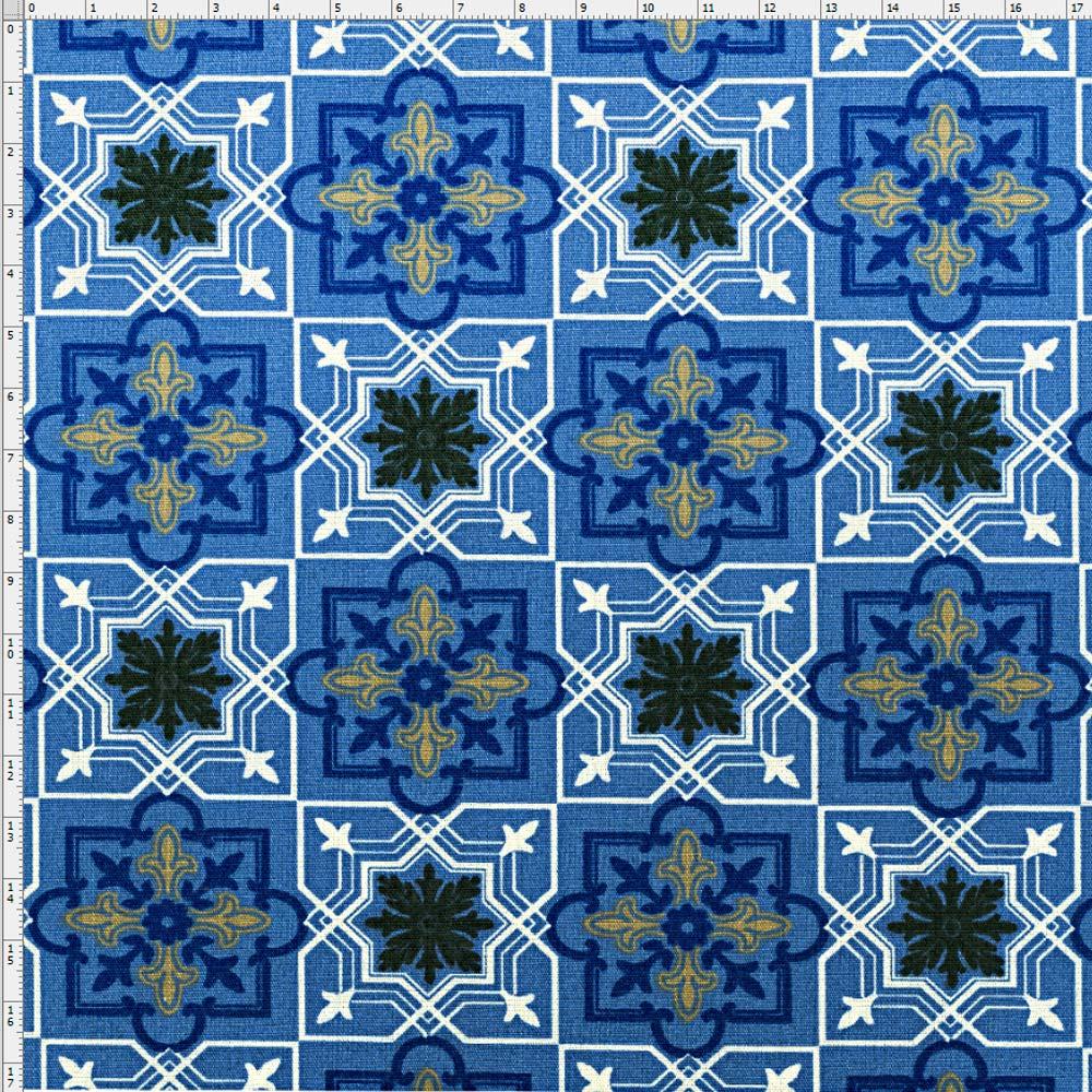 Tecido azulejo marroquino azul fabricart bazar horizonte for Azulejo azul