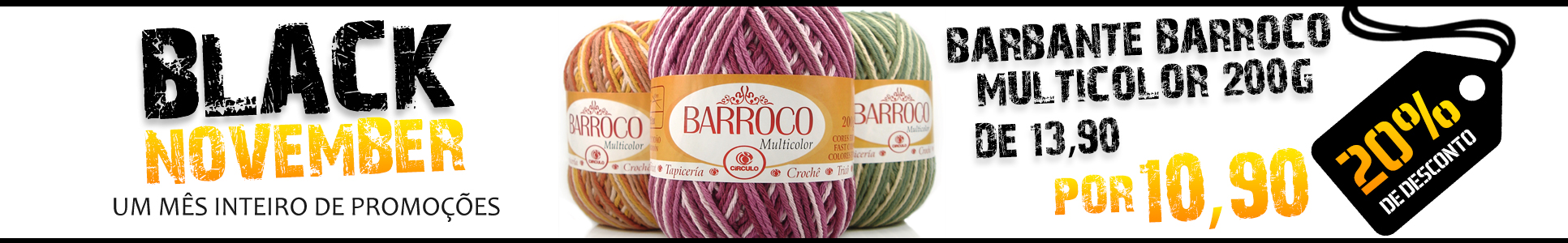 Black November Barbante Barroco Multicolor 200g