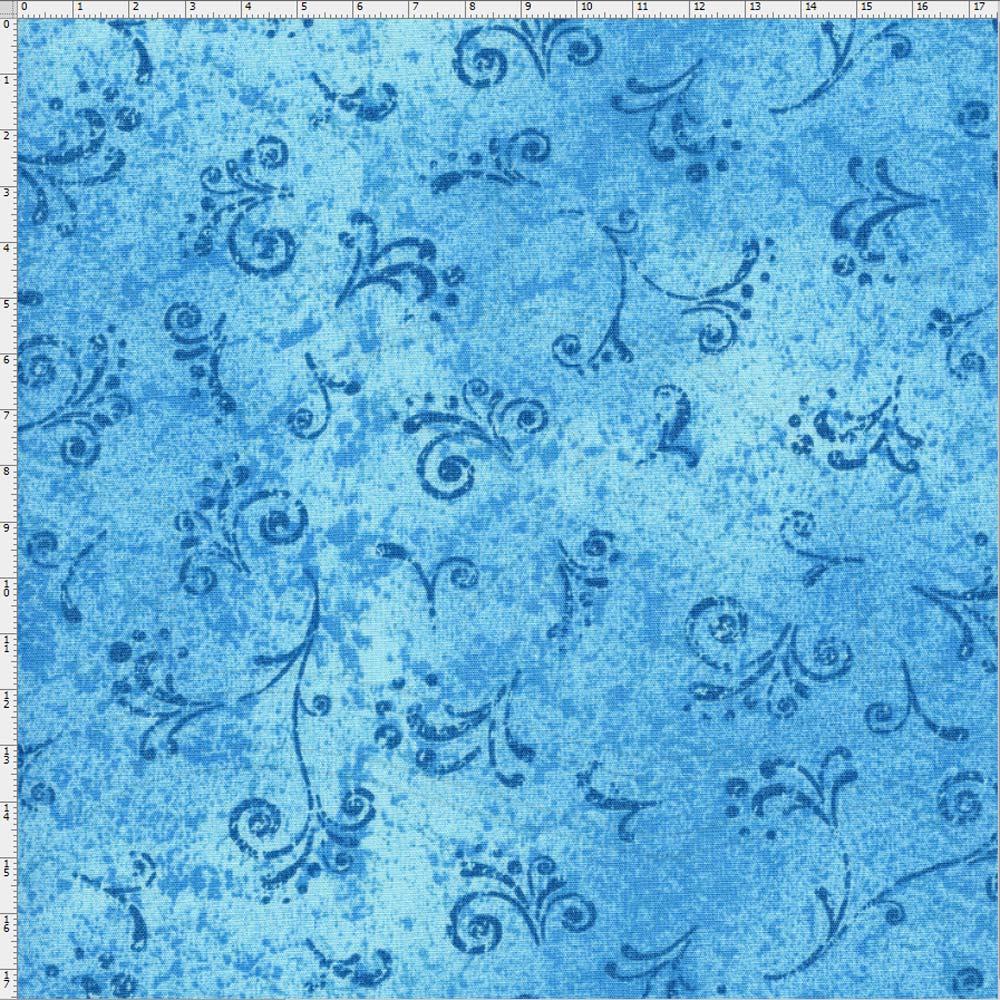 Tecido Estampado para Patchwork - 50 Tons Arabesco Turquesa Cor 19  (0,50x1,40) 2fc93852e9