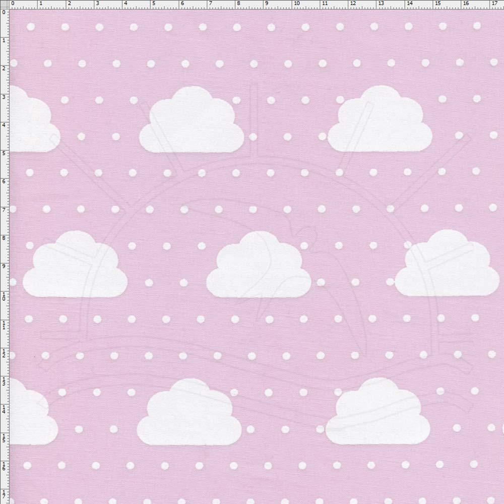 Excepcional Tecido Nuvens Pequenas Com Poá Rosa Cor 01 - Fernando Maluhy  GL98