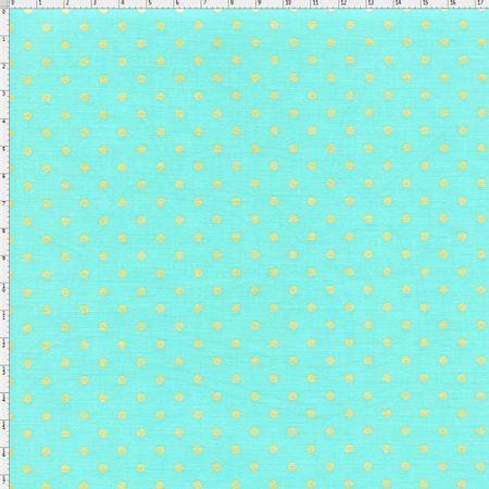 Tecido Estampado para Patchwork - Poá Dourada Fundo Azul Tiffany Cor 02  (0,50x1,40) 00b54682a6