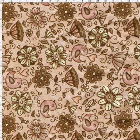 9f25264c9e0cd Tecido Digital Pássaros e Flores - Fuxicos e Fricotes - Bazar Horizonte