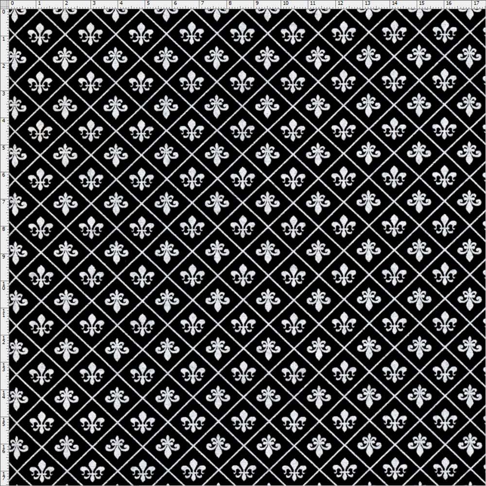 Tecido Estampado Para Patchwork Flor De Lis Miuda Fundo Preto C02 050x140