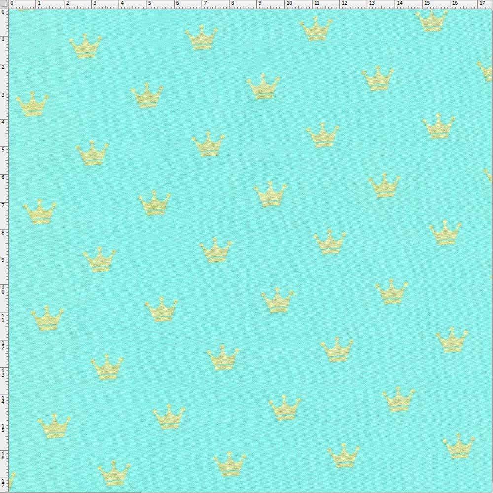 Tecido Estampado para Patchwork - Coroa Dourada Fundo Azul Tiffany Cor 01  (0,50x1,40) 6e285052a2