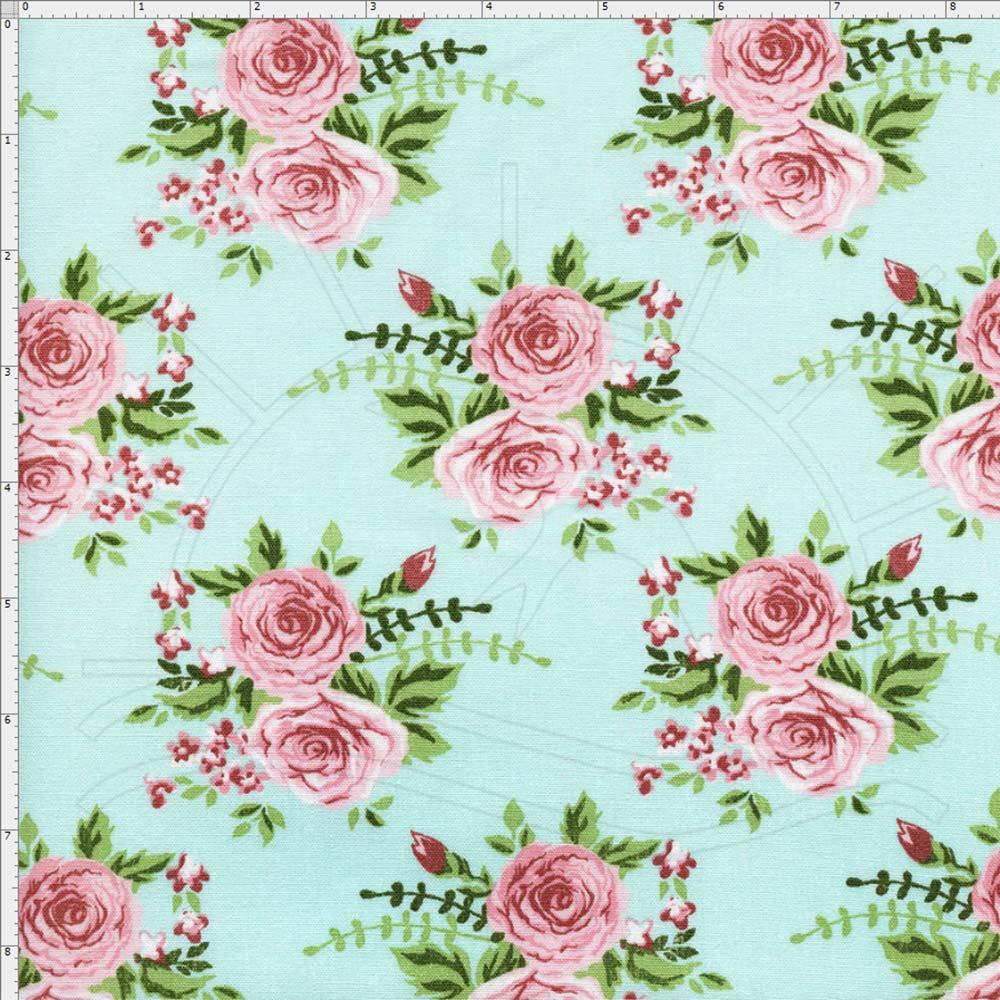 Tecido Fundo Azul Com Flores Rosa