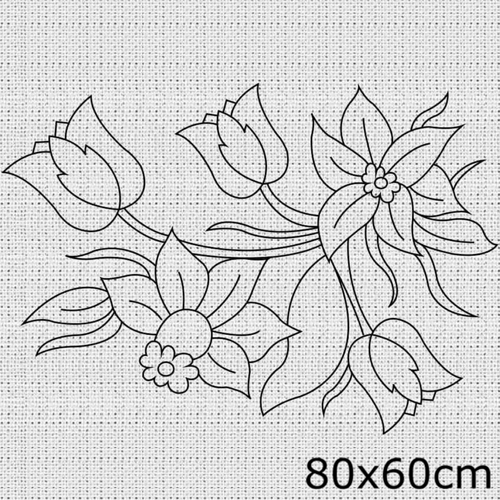 Tecido Algodao Cru Riscado Para Ponto Russo 80x60cm Floral