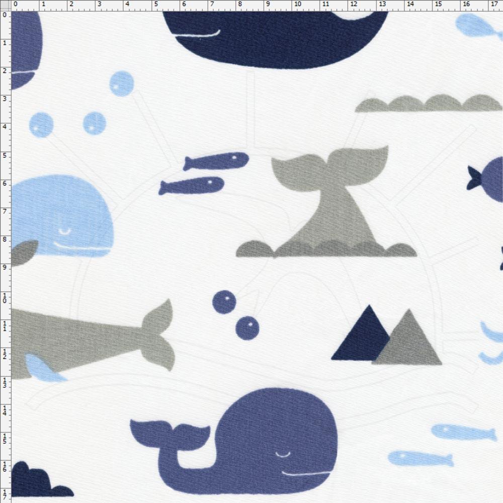Tecido Estampado para Patchwork - Fundo do Mar Baleia Marinho (0,50x1,40) 4a4f9071b0