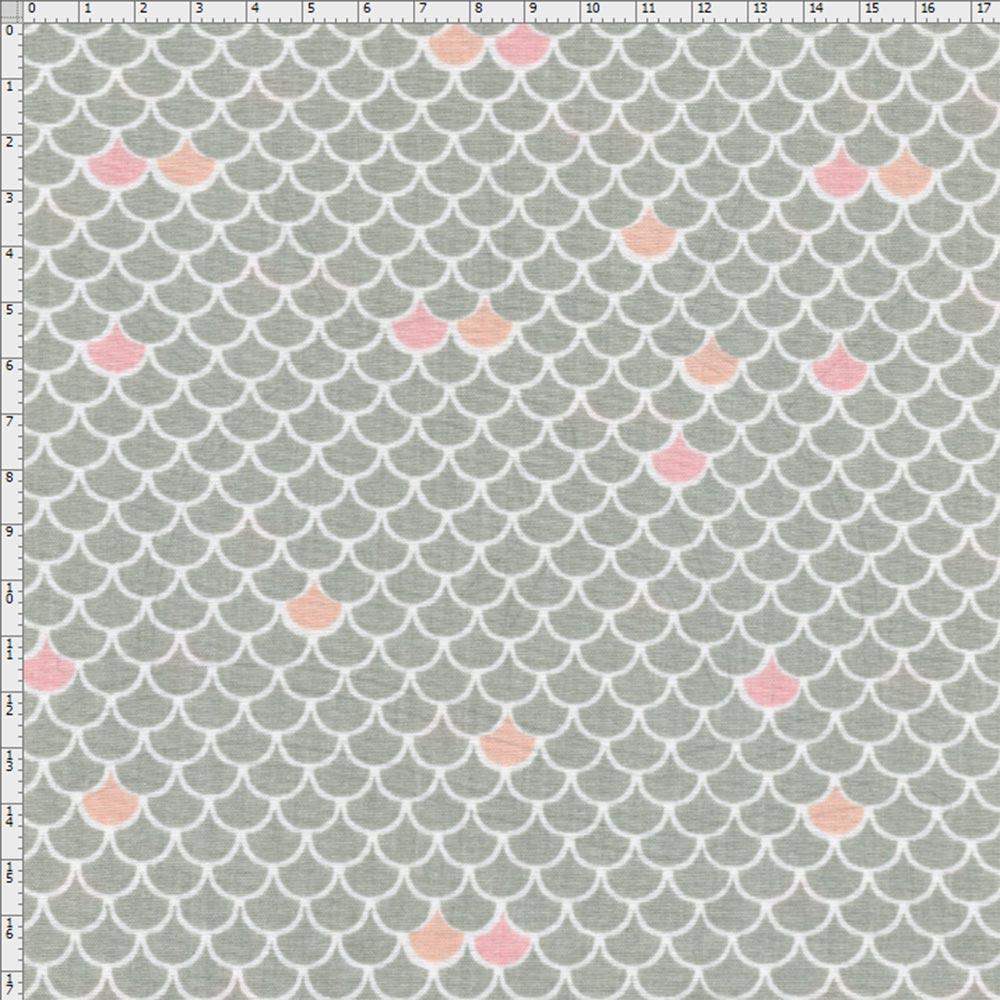 Tecido Estampado para Patchwork - Fundo do Mar Escama Rosa (0,50x1 ... 7d7c987442