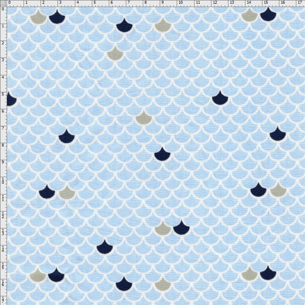 Tecido Estampado para Patchwork - Fundo do Mar Escama Marinho (0,50x1,40) 6d340f0149