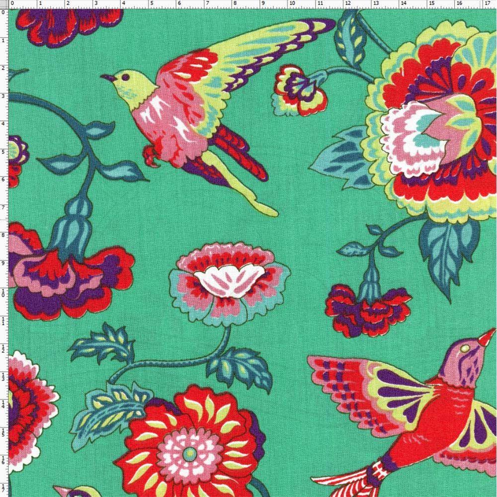 fe1e053bfe3203 Tecido Estampado para Patchwork - Modern Oriental: Floral Eden Com Pássaros  Fundo Verde (0,50x1,40)